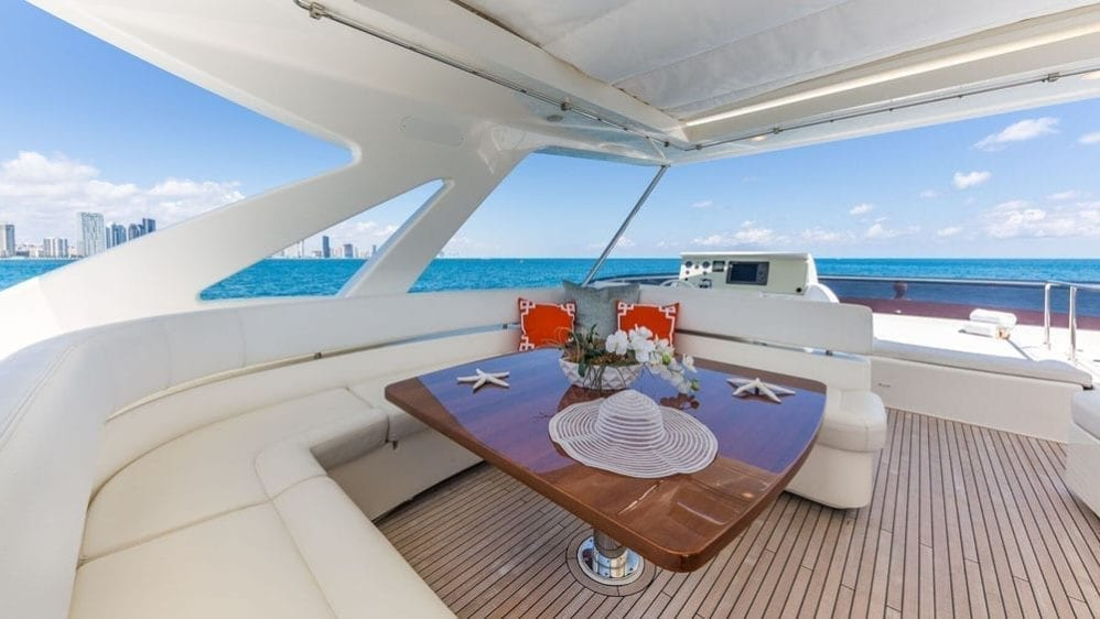 Miami Yacht Rentals 80' Ferretti Upper Deck Seating