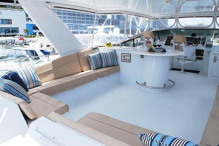 Miami Yacht Rentals 80' Hatteras Upper Deck 2