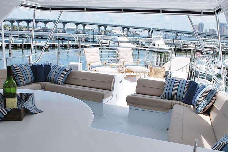 Miami Yacht Rentals 80' Hatteras Upper Deck