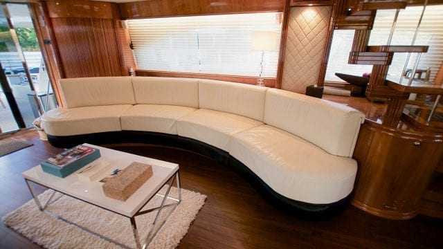 Miami Yacht Rentals 86' Azimut Salon Couch