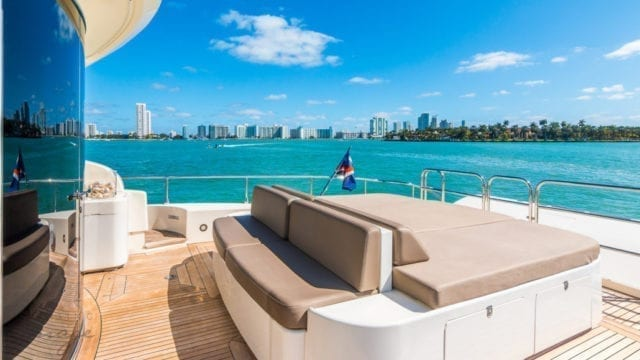 Miami Yacht Rentals 92' Leopard Aft Lounge 2