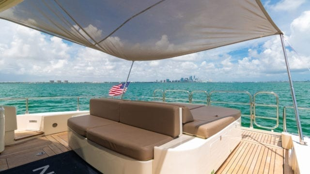 Miami Yacht Rentals 92' Leopard Aft Lounge