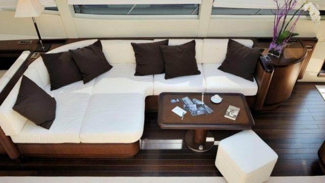 Miami Yacht Rentals 92' Mangusta Salon Couch