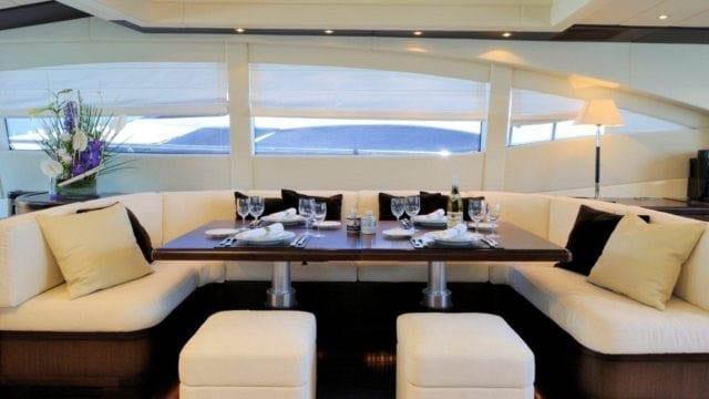 Miami Yacht Rentals 92' Mangusta Salon Dining