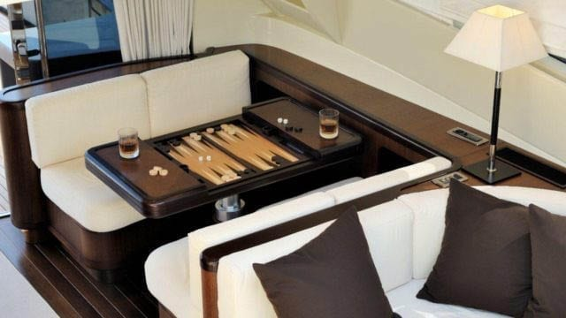 Miami Yacht Rentals 92' Mangusta Salon Game Table