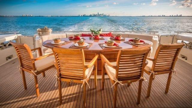 Miami Yacht Rentals 94' Ferretti Aft Dining