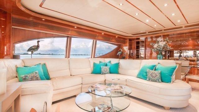 Miami Yacht Rentals 94' Ferretti Salon Couch