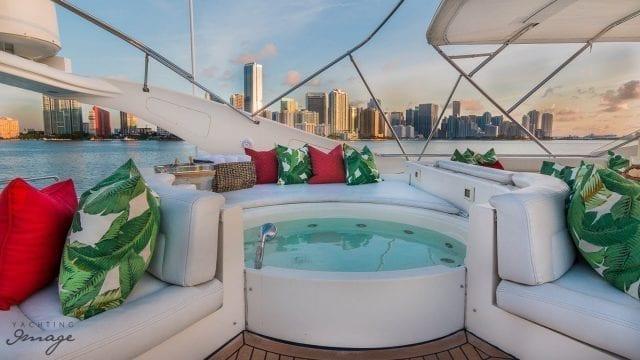 Miami Yacht Rentals 94' Ferretti Upper Deck Hot Tub