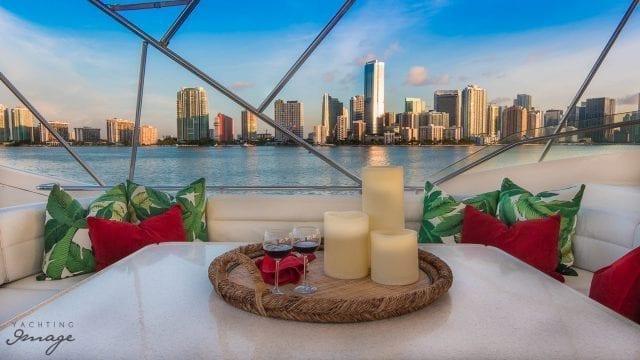 Miami Yacht Rentals 94' Ferretti Upper Deck Table