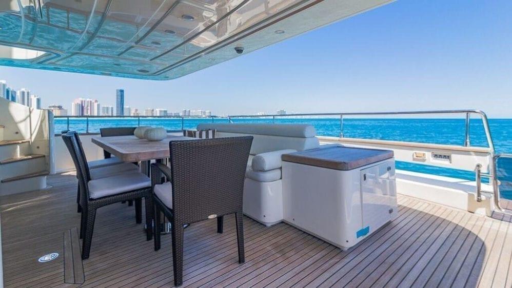 Miami Yacht Rentals 97' Ferretti Aft Dining