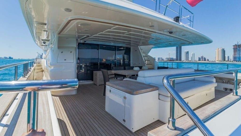 Miami Yacht Rentals 97' Ferretti Aft Seating 2