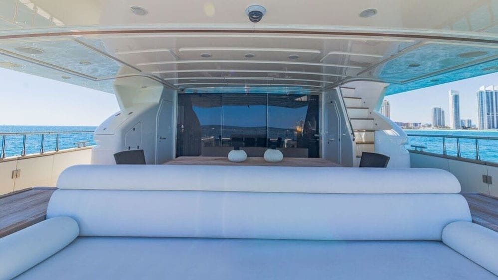 Miami Yacht Rentals 97' Ferretti Aft Seating 3