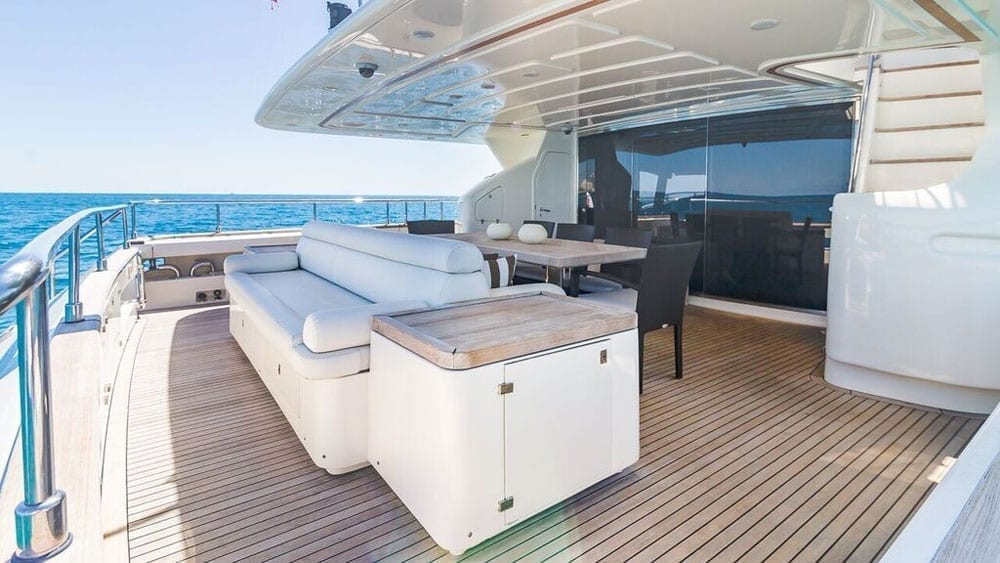 Miami Beach Yacht Rentals 97' Ferretti Aft Seating