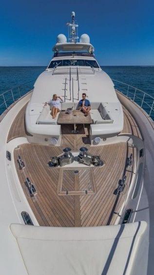Miami Yacht Rentals 97' Ferretti Bow Seating