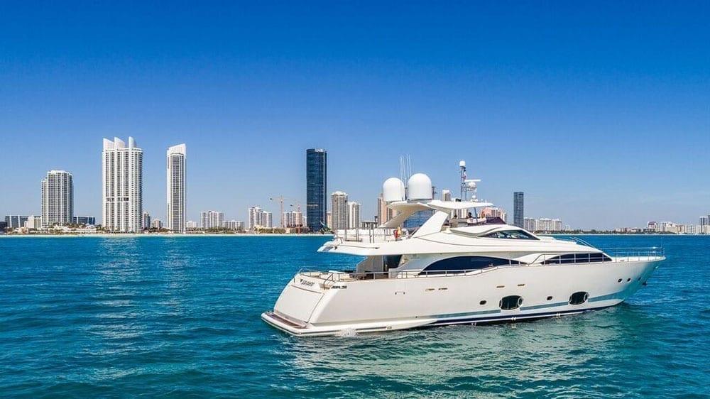 Miami Yacht Rentals 97' Ferretti Starboard Profile