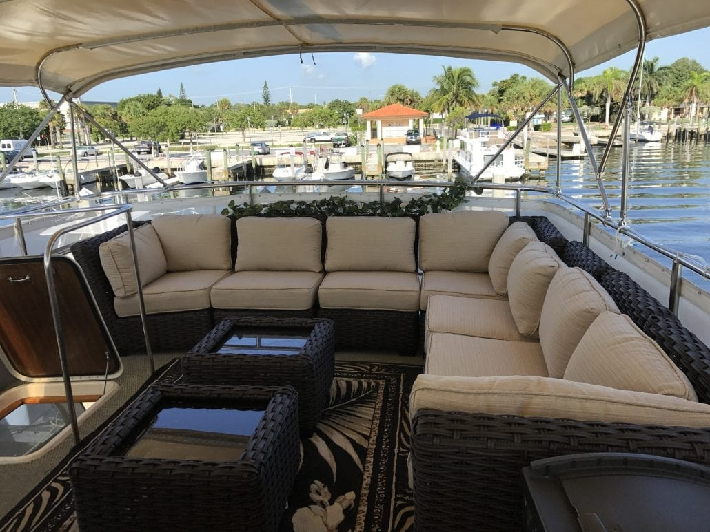 Naples yacht charter bow deck lounge