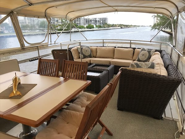 Naples yacht charter deck lounge area