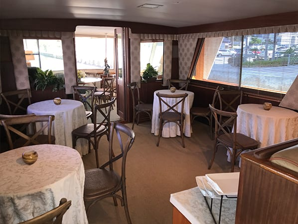 Naples yacht charter dining area
