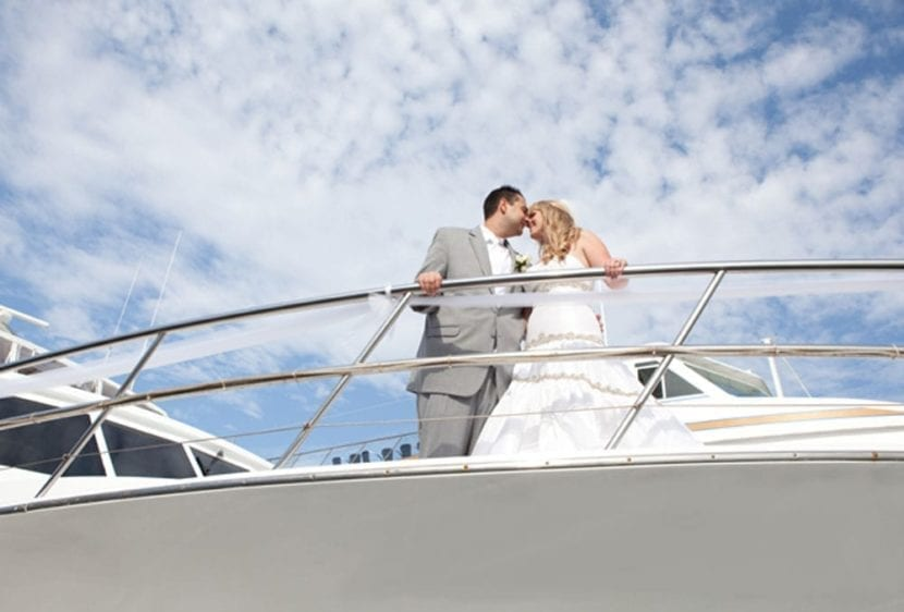 Newport Beach Yacht Rentals 100' Dittmar Wedding Couple