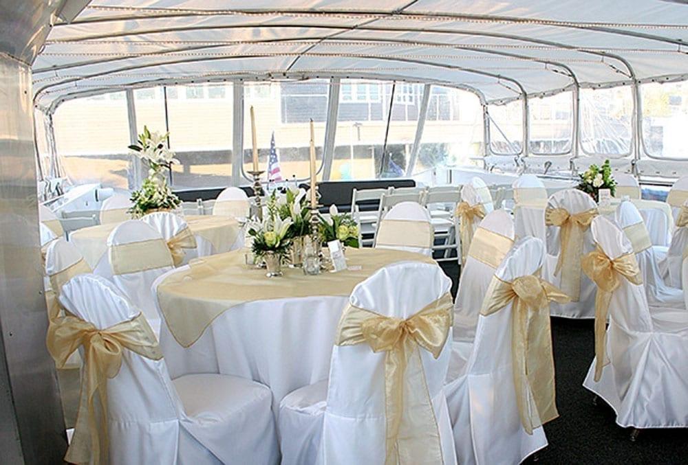 yacht charters Newport Beach 100' Dittmar Wedding Set Up Upper Deck