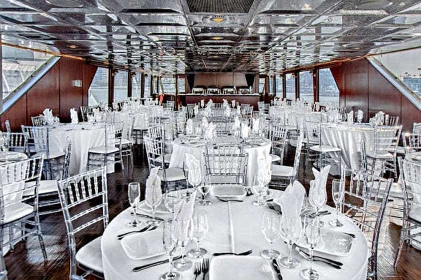 Newport Beach Yacht Rentals 128' Skipperliner Wedding Tables