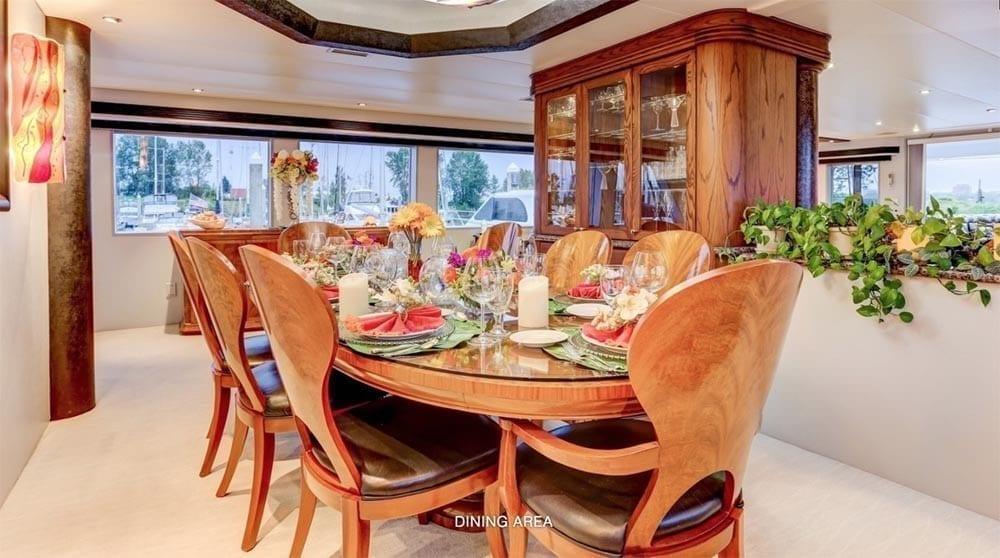 San Diego Yacht Rentals 118' Westport Dining Area