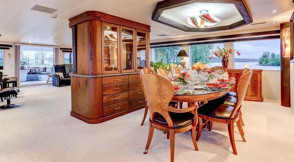 San Diego Yacht Rentals 118' Westport Dining Area 2
