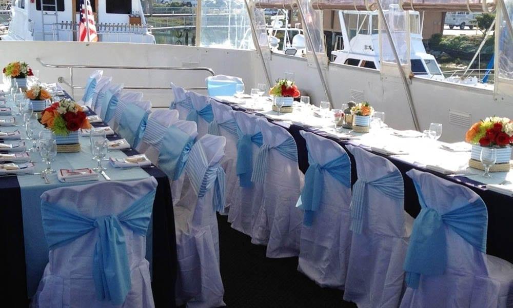 Party yacht San Diego 60' Jjak Tables Set