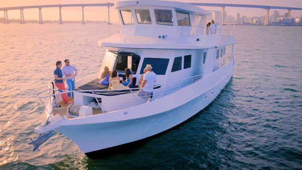 San Diego party Yacht 73' Bonaire Navigator Bow View