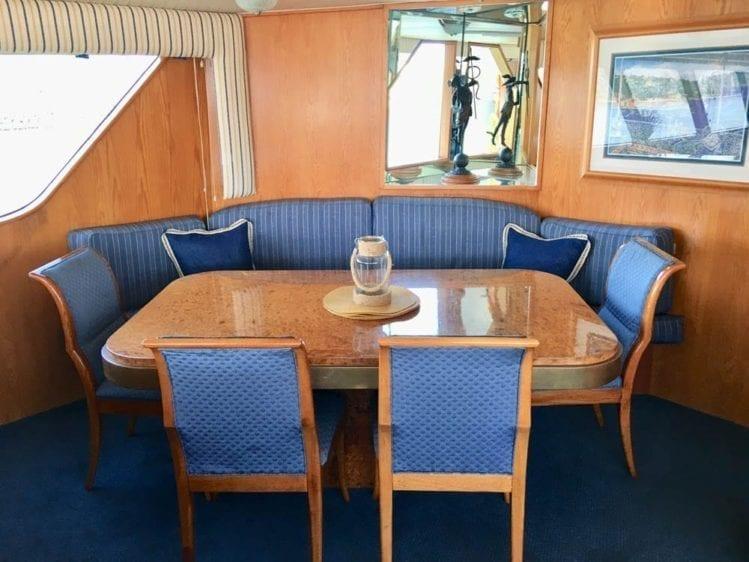 San Diego Yacht Rentals 78' Broward Dining