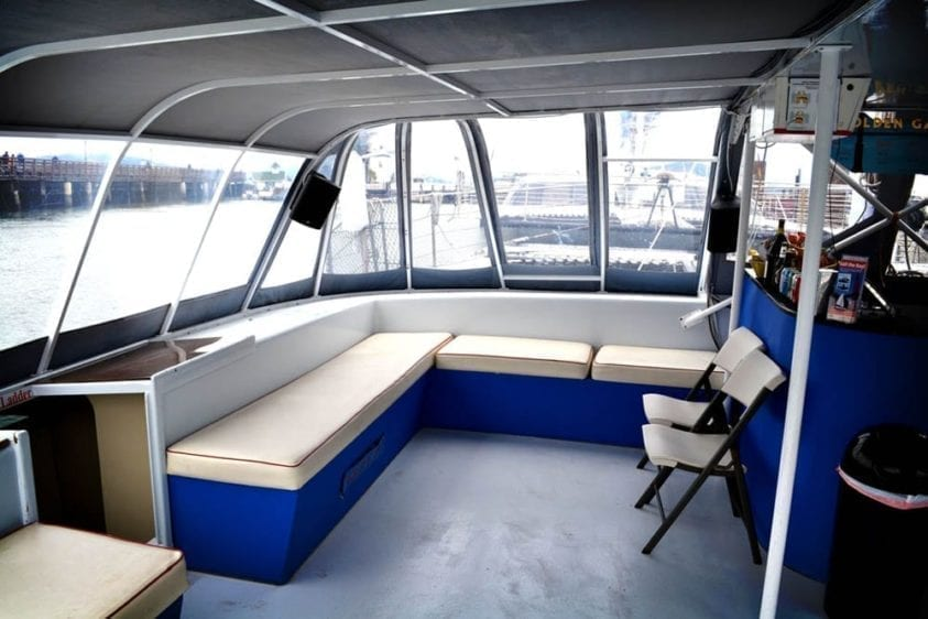 San Francisco Yacht Rentals 55' Adventure Cat Interior with Bar