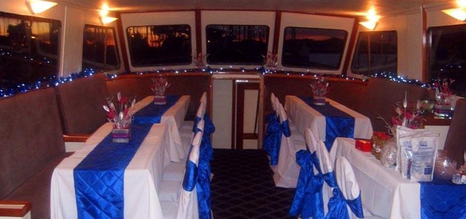 San Francisco Yacht Rentals 75' Voyager Interior Tables