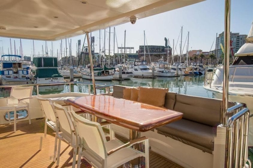 San Francisco Yacht Rentals 80' Monte Fino Aft Dining