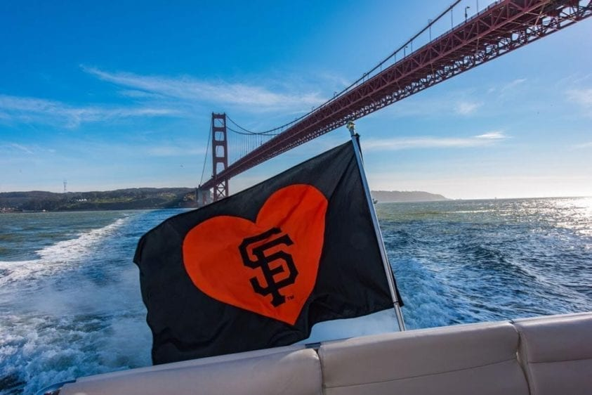 San Francisco Yacht Rentals 80' Monte Fino Aft Flag