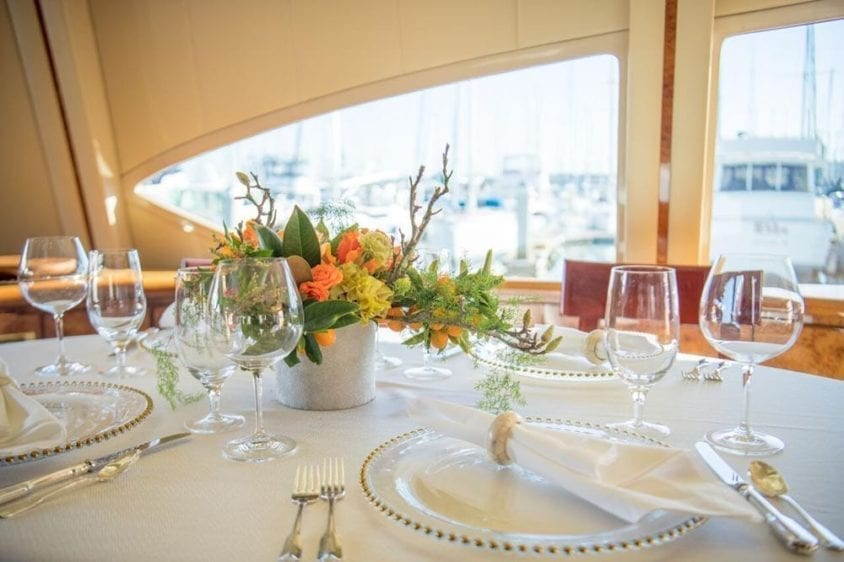 San Francisco Yacht Rentals 80' Monte Fino Dining Table Set