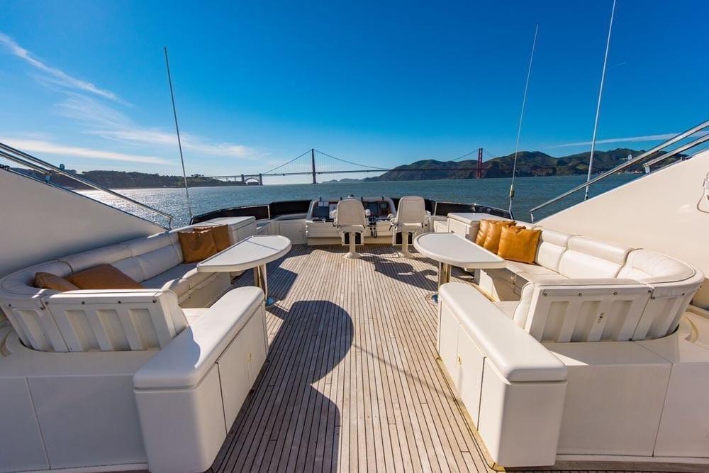San Francisco luxury Yacht charter 80' Monte Fino Upper Deck