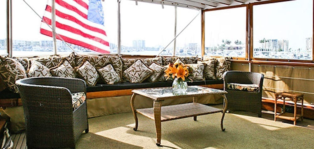 Long Beach charter yacht 77' John Tracy Aft Seating