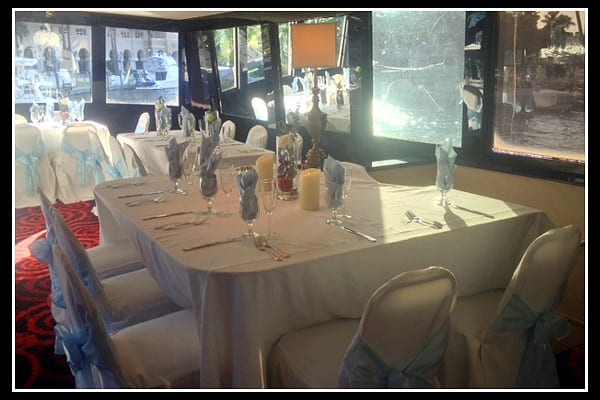fort lauderdale yacht charter dining area