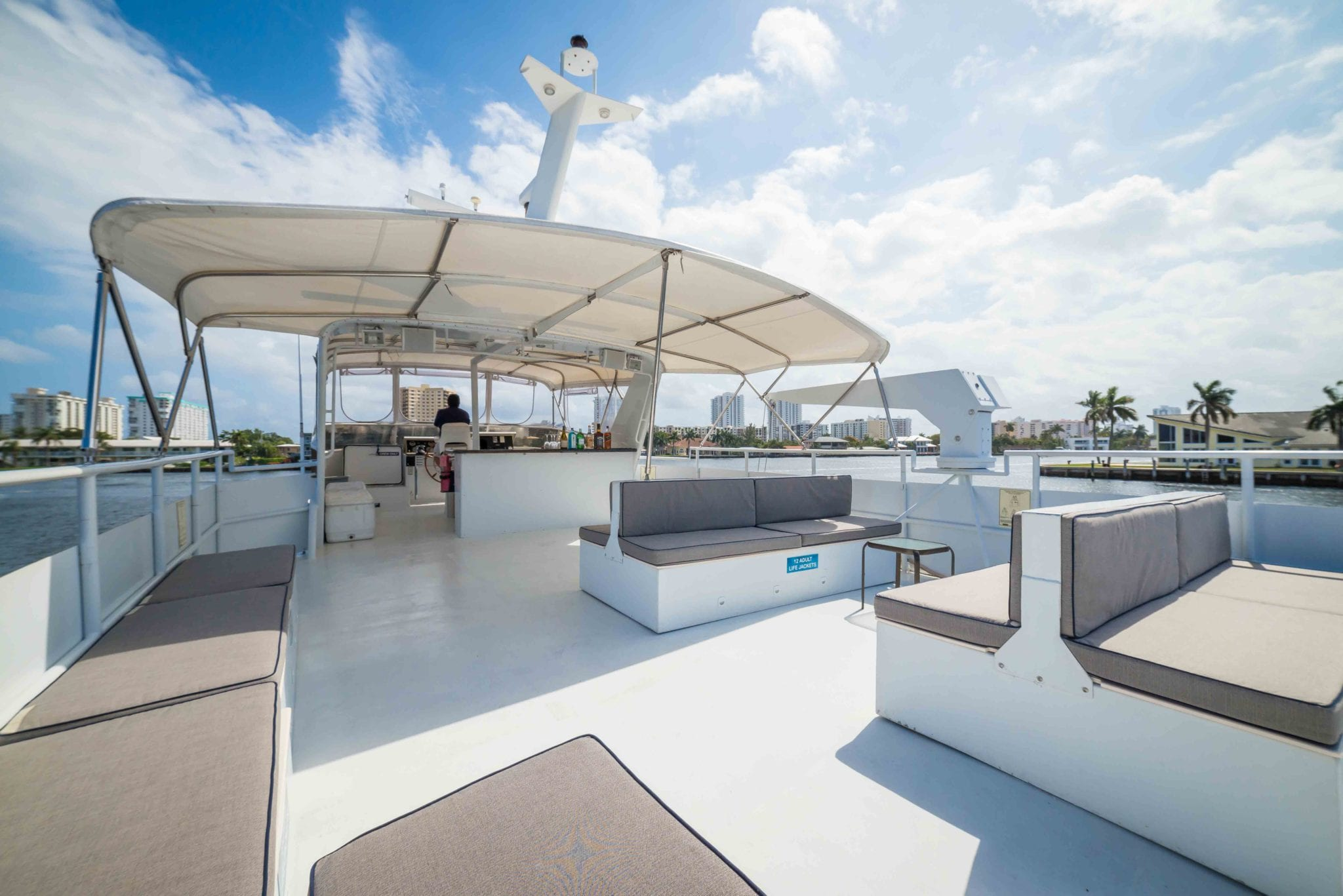 ft lauderdale yacht rental upper deck lounge